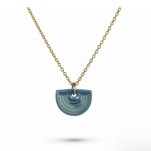 One & Eight porcelain teal Agatha gold necklace