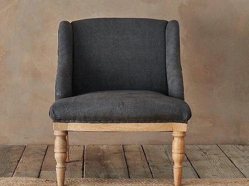Nkuku Elbu Charcoal linen chair - ex display
