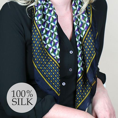 Navy and mustard geometric print square silk scarf