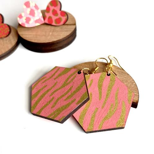 Ivy& Ginger Tiger drop pink earrings