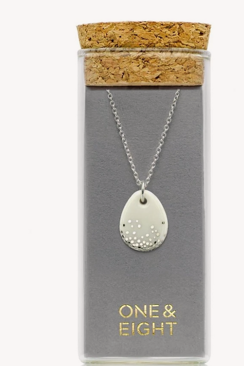 One & Eight white raindrop silver necklace
