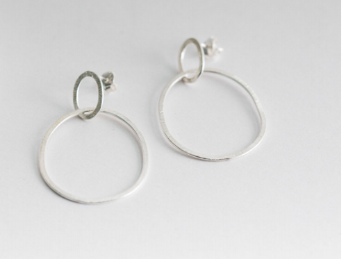 One & Eight silver halo earrings