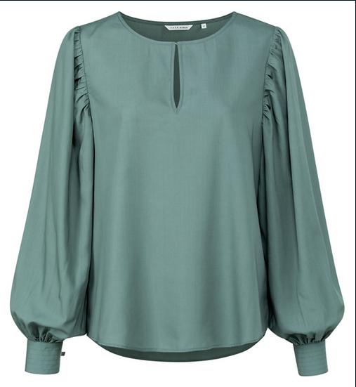 Yaya drapey Lyocell blend top in deep dark green