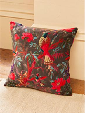 Bird of Paradise Botanical cushion with inner - slate grey