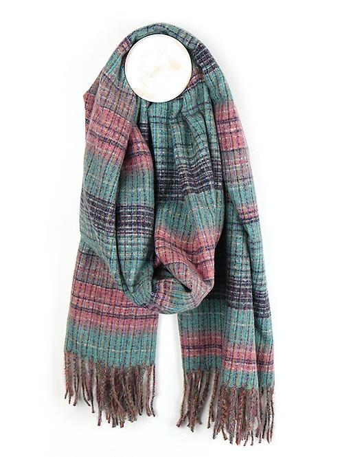 Teal & pink mix viscose soft scarf