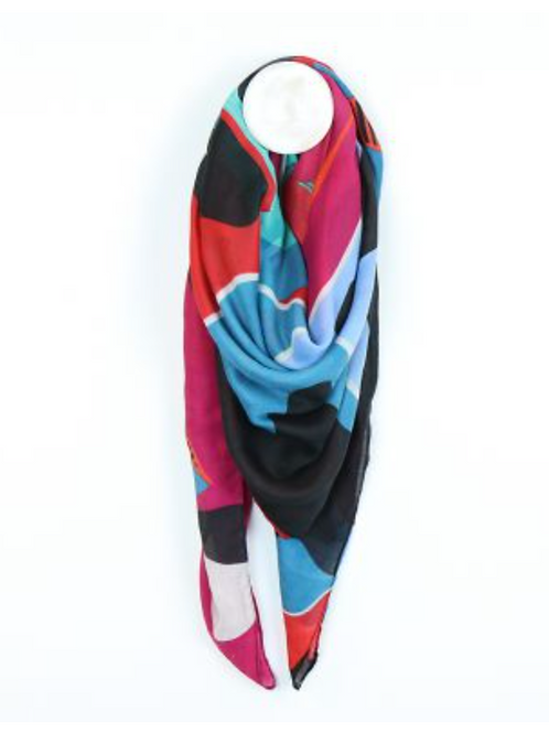 Graphic print flower scarf reds and blues