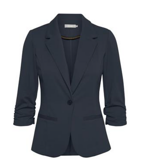 Fransa Blazer in dark peacoat with ruched sleeves