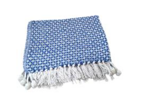 Blue geometric pattern throw