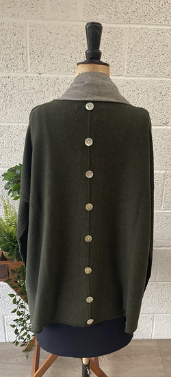 Dark green sweater with buttons down the back