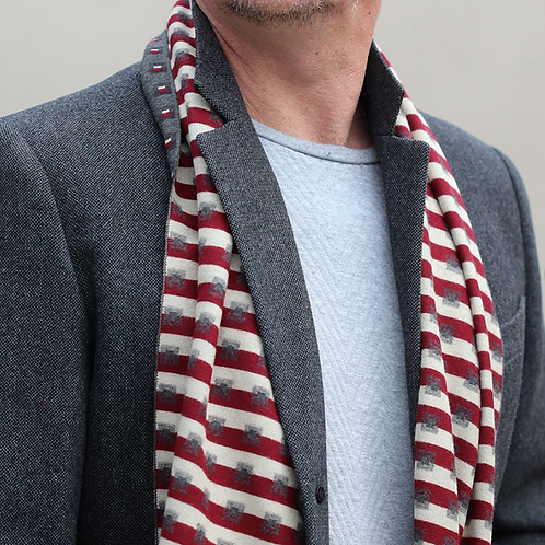 Grey and red stripe men's soft scarf