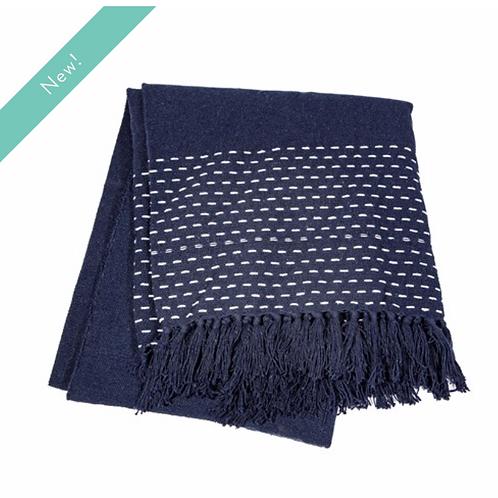 Sass & Belle stitched blue blanket throw