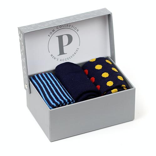 Bamboo sock gift set - navy & yellow spots
