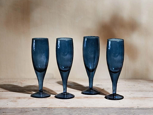 Nkuku Yala blue champagne glasses - set of 4
