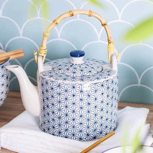 Blue geometric flower design teapot