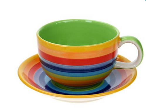 Rainbow ceramic cup and saucer
