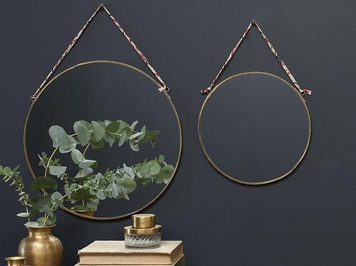 Nkuku brass round mirror with hanging tie
