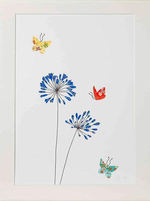 Eloise Hall A4 Mounted print - Agapanthus and butterflies