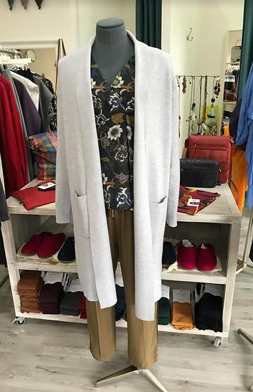 Light silver grey coatigan with lapel