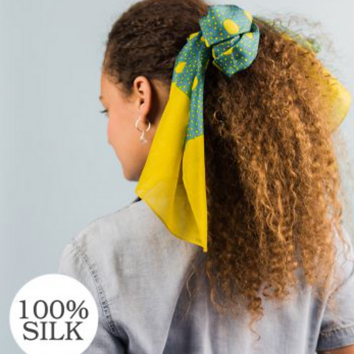 Turquoise and mustard spots and dots silk scarf