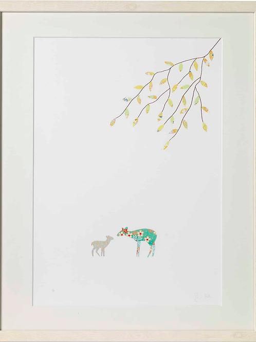 Eloise Hall A4 Mounted print - Deer baby boy