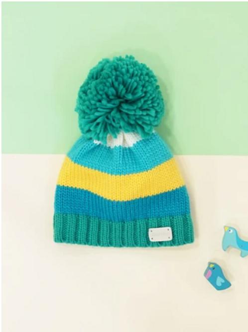Blade & Rose blue & green striped bobble hat