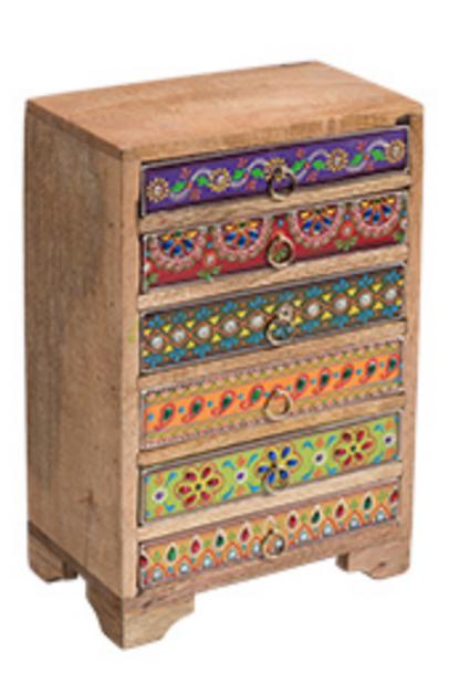 Hand painted sustainable mango wood chest