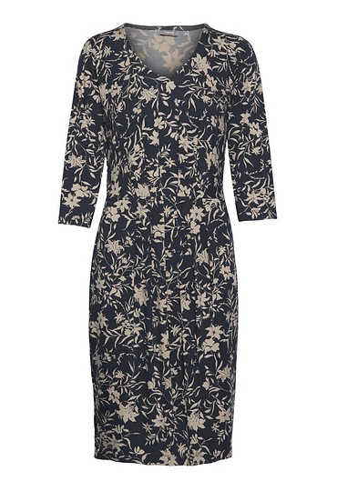 Fransa Frleprint 2 dress navy with warm honey floral