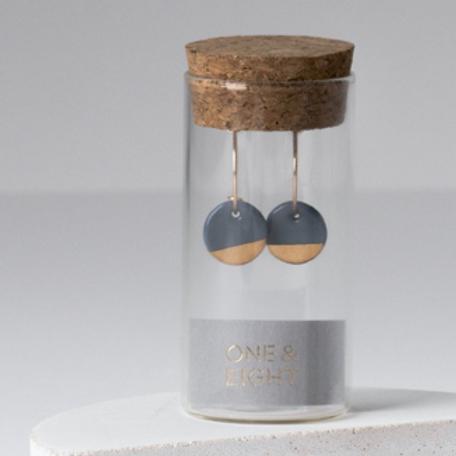 One& Eight steel grey porcelain dipped earrings