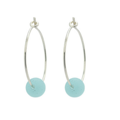 One & Eight silver earrings with blue seaglass