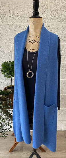Long blue cardigan with lapel