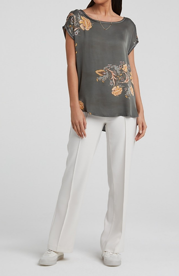 Yaya Round neck tee with floral print