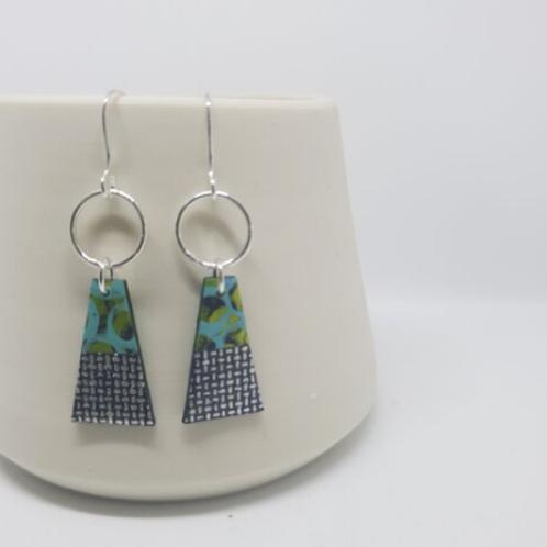 Circle &Dash trapeze style earrings - aqua/navy