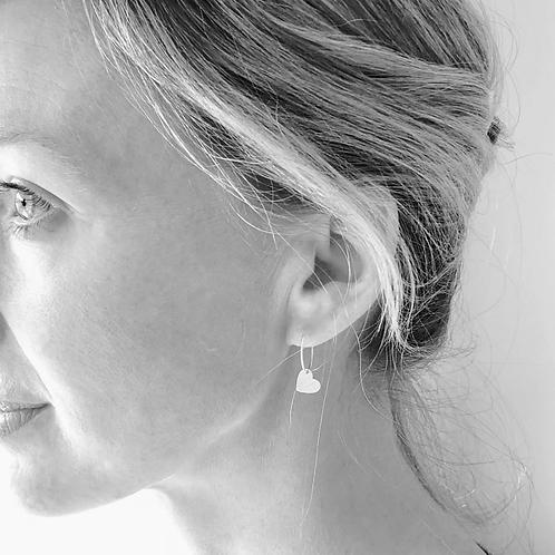 One & Eight silver heart earrings