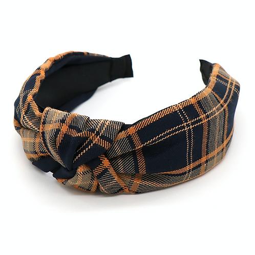 Navy tartan hairband