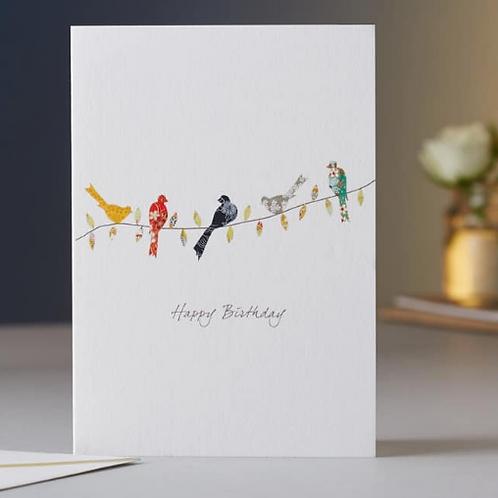 Eloise Hall Happy birthday card birds on a twig birthday