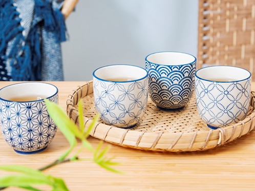 Sass and Belle sashiko blue geometric pattern design tea cups