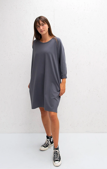 Chalk Brody dress in charcoal