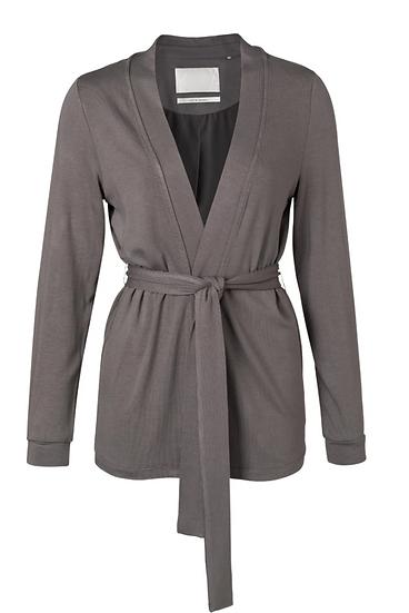 Yaya jersey cardigan with strap belt in volcanic grey