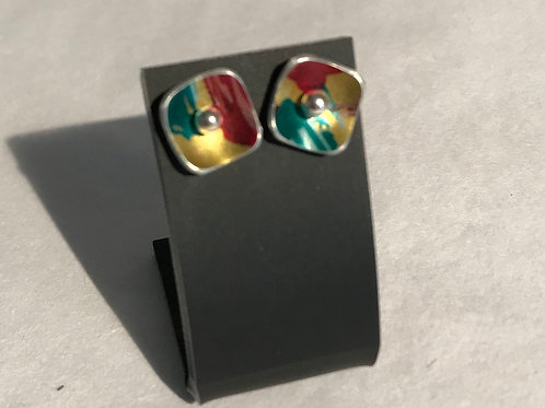 Hand painted yellow square studs