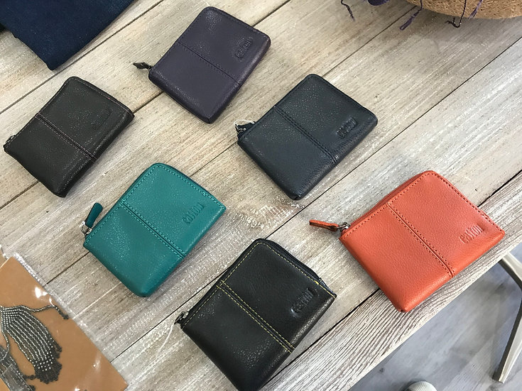 Leather zip coin purse - various colours