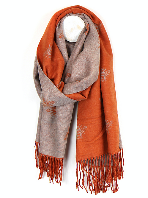 Orange and taupe reversible bee scarf