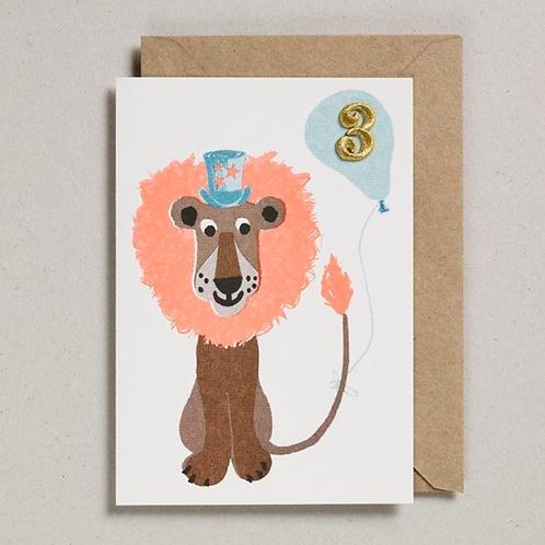 Petra Boase age 3 embroidered lion card