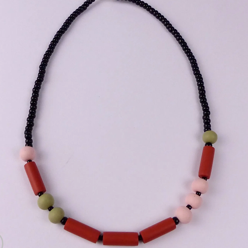 Nadege Honey - dot and dash necklace 'Love' in terracotta