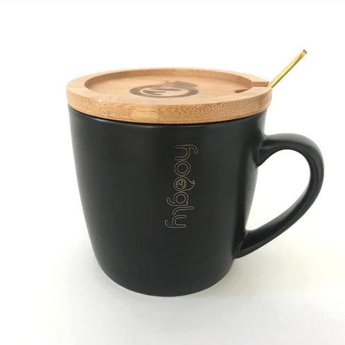 Hoogly tea mug with lid and spoon