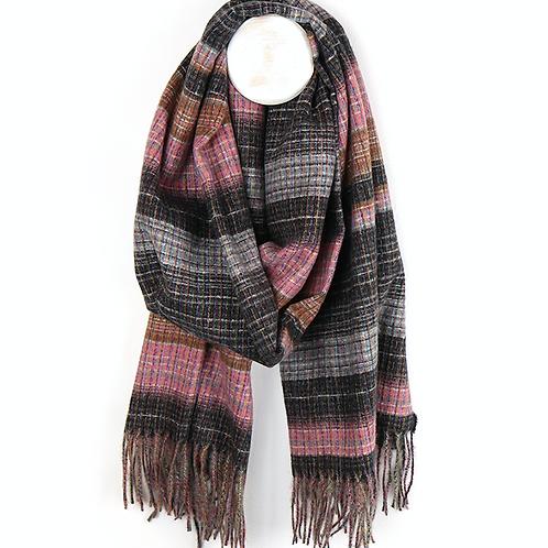 Dark grey and pink soft viscose fringed scarf