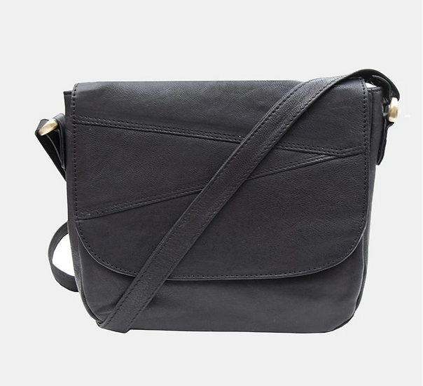 Primehide Crumble leather shoulder bag - Black
