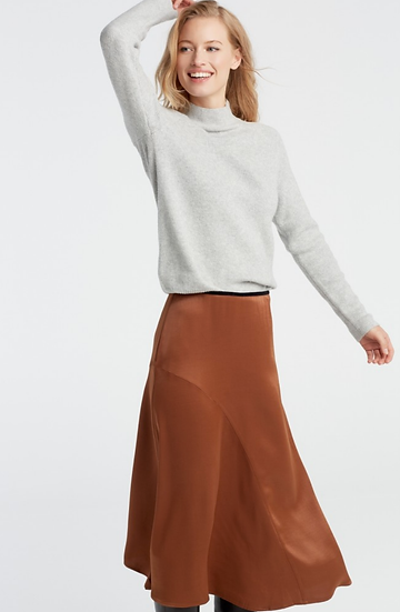 Yaya Bronze Satin Skirt