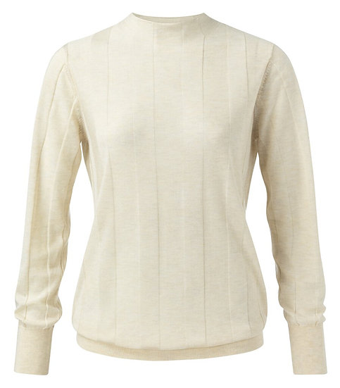 Yaya Lyocell rib cream sweater