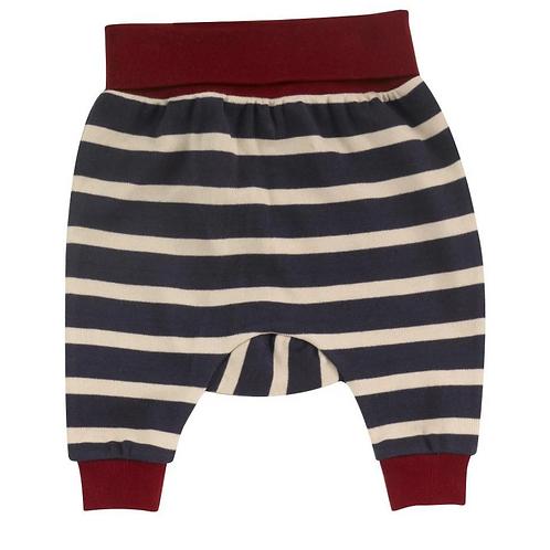 Red and navy breton stripe baby joggers Pigeon organics