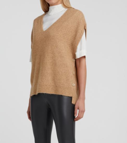 Yaya wool blend sleeveless sweater with side buttons